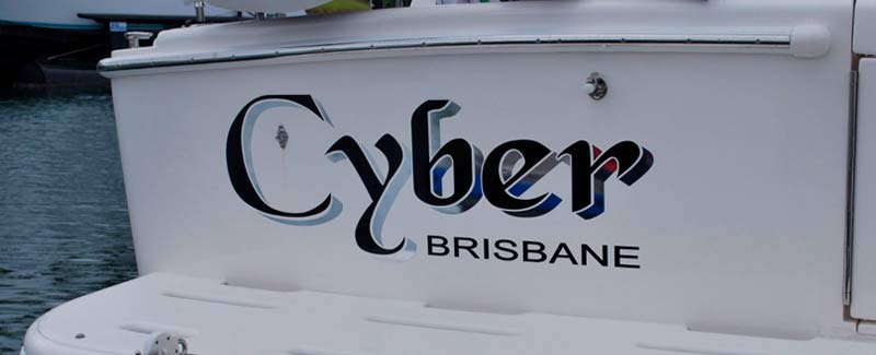 Boat Name with Chrome Shadow