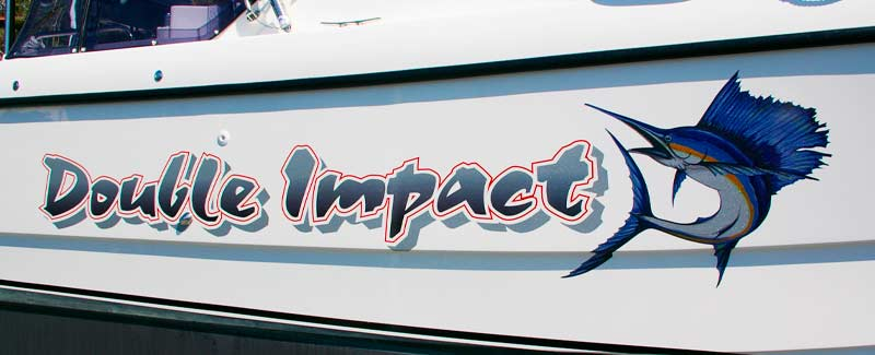Double Impact Speed Boat Graphics Sticker