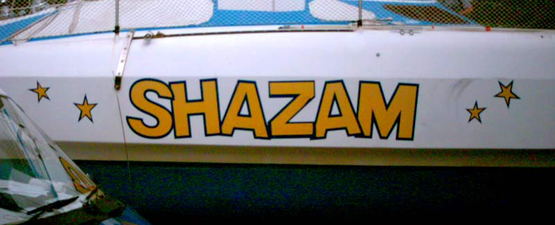 Multi Hull Boat Name Shazam