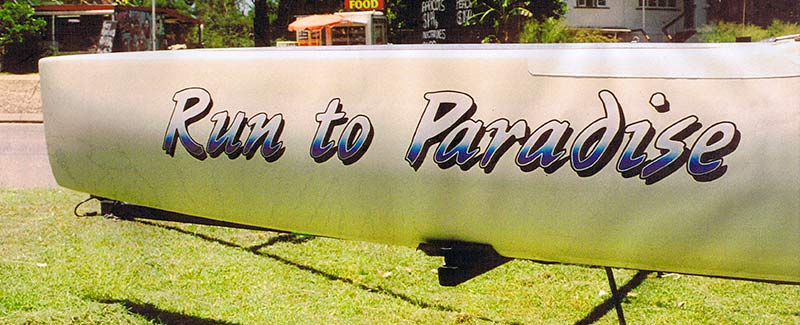 Run to Paradise Catamaran Side Name